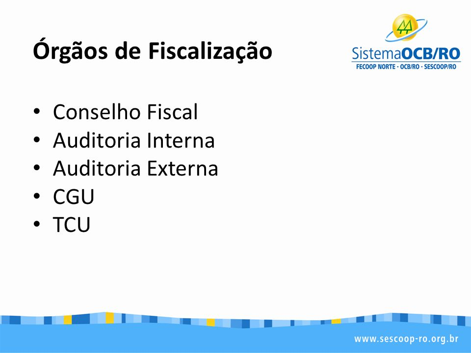 Órgãos de Fiscalização Conselho Fiscal Auditoria Interna Auditoria Externa CGU TCU
