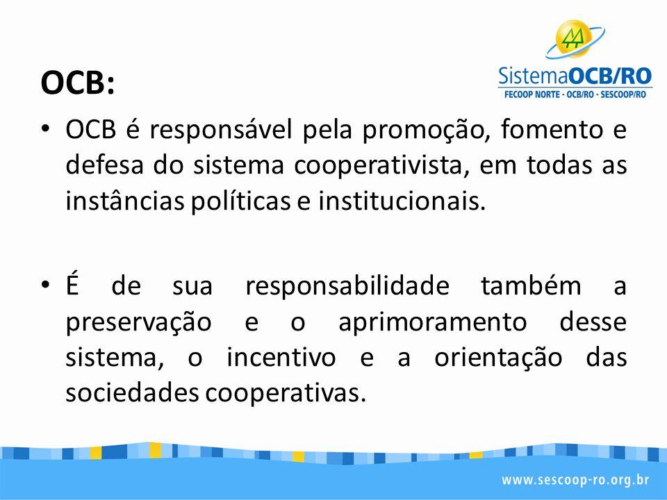 OCB: OCB é responsável pela promoção, fomento e defesa do sistema cooperativista, em todas as instâncias políticas e institucionais. É de sua responsa