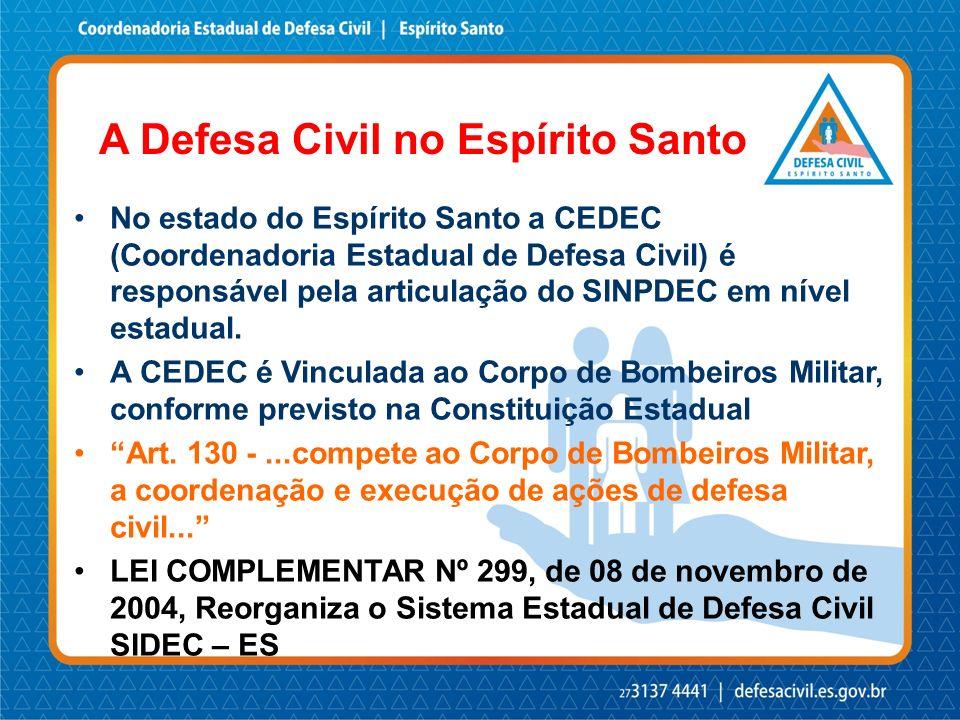 No estado do Espírito Santo a CEDEC (Coordenadoria Estadual de Defesa Civil) é responsável pela articulação do SINPDEC em nível estadual. A CEDEC é Vi