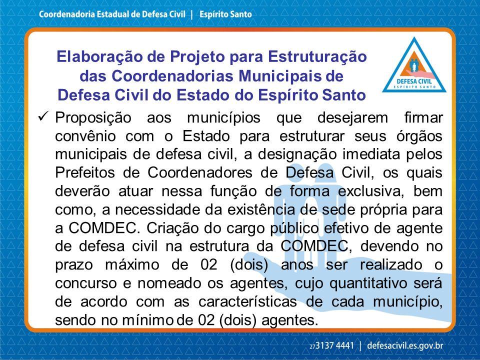 Elaboração de Projeto para Estruturação das Coordenadorias Municipais de Defesa Civil do Estado do Espírito Santo Proposição aos municípios que deseja