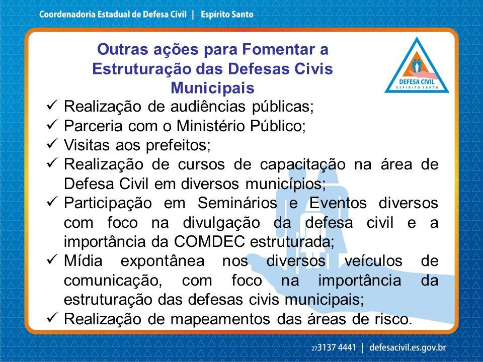 Outras ações para Fomentar a Estruturação das Defesas Civis Municipais Realização de audiências públicas; Parceria com o Ministério Público; Visitas a