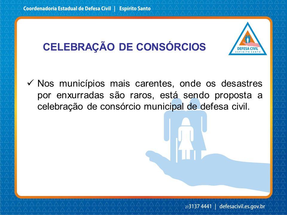 CELEBRAÇÃO DE CONSÓRCIOS Nos municípios mais carentes, onde os desastres por enxurradas são raros, está sendo proposta a celebração de consórcio munic