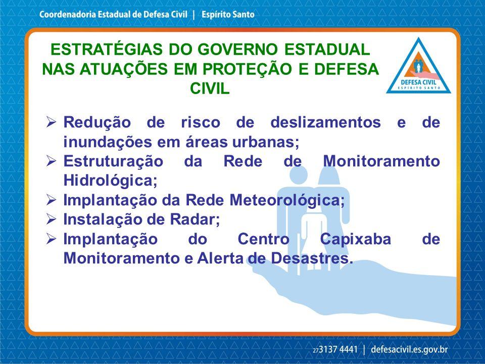 Redução de risco de deslizamentos e de inundações em áreas urbanas; Estruturação da Rede de Monitoramento Hidrológica; Implantação da Rede Meteorológi