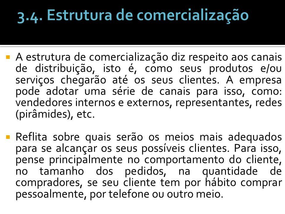 A estrutura de comercialização diz respeito aos canais de distribuição, isto é, como seus produtos e/ou serviços chegarão até os seus clientes. A empr