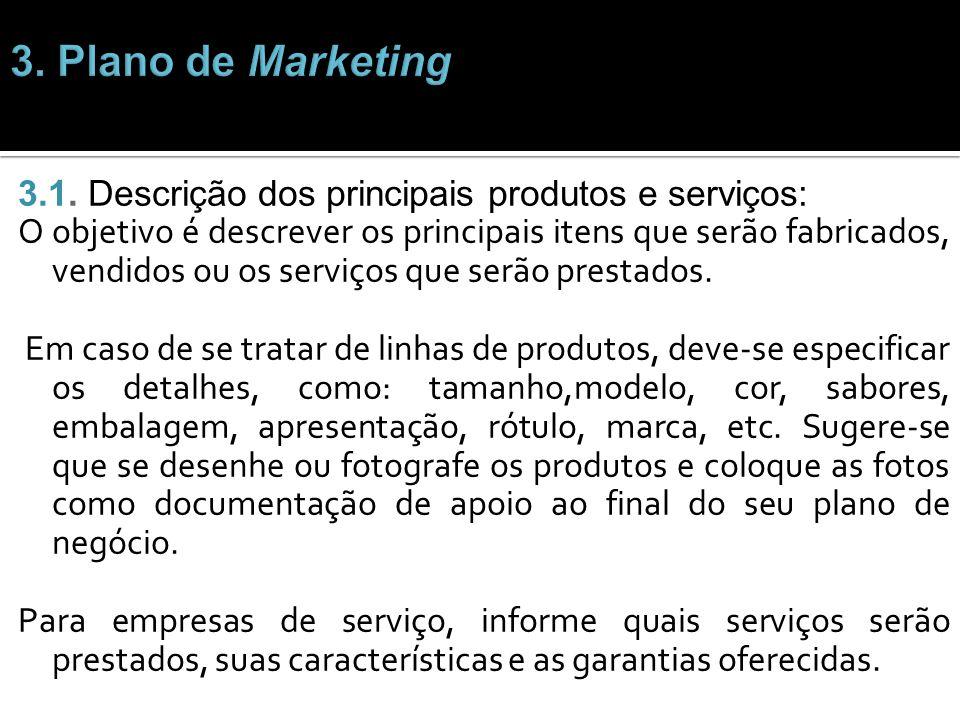 3.1. Descrição dos principais produtos e serviços: O objetivo é descrever os principais itens que serão fabricados, vendidos ou os serviços que serão