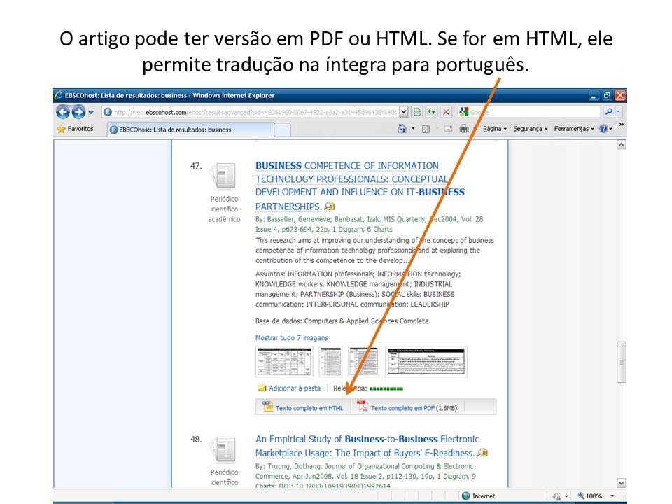 O artigo pode ter versão em PDF ou HTML.