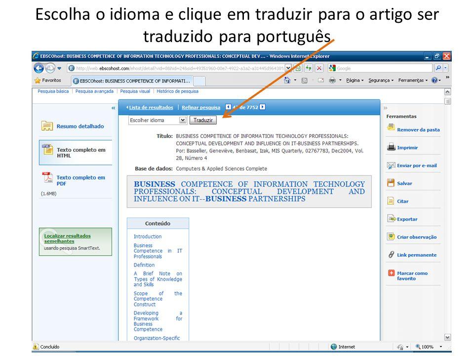 Escolha o idioma e clique em traduzir para o artigo ser traduzido para português