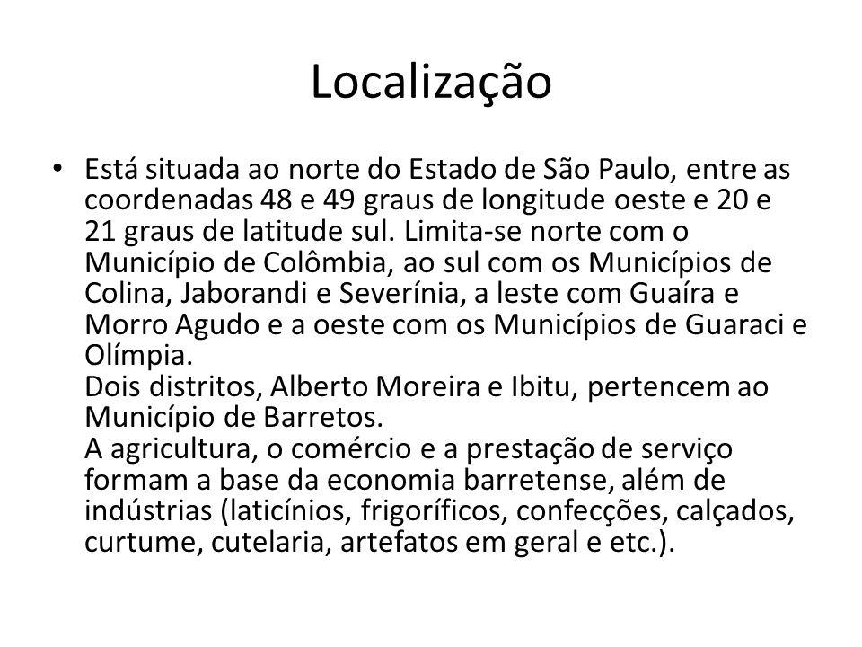 Localização Está situada ao norte do Estado de São Paulo, entre as coordenadas 48 e 49 graus de longitude oeste e 20 e 21 graus de latitude sul. Limit