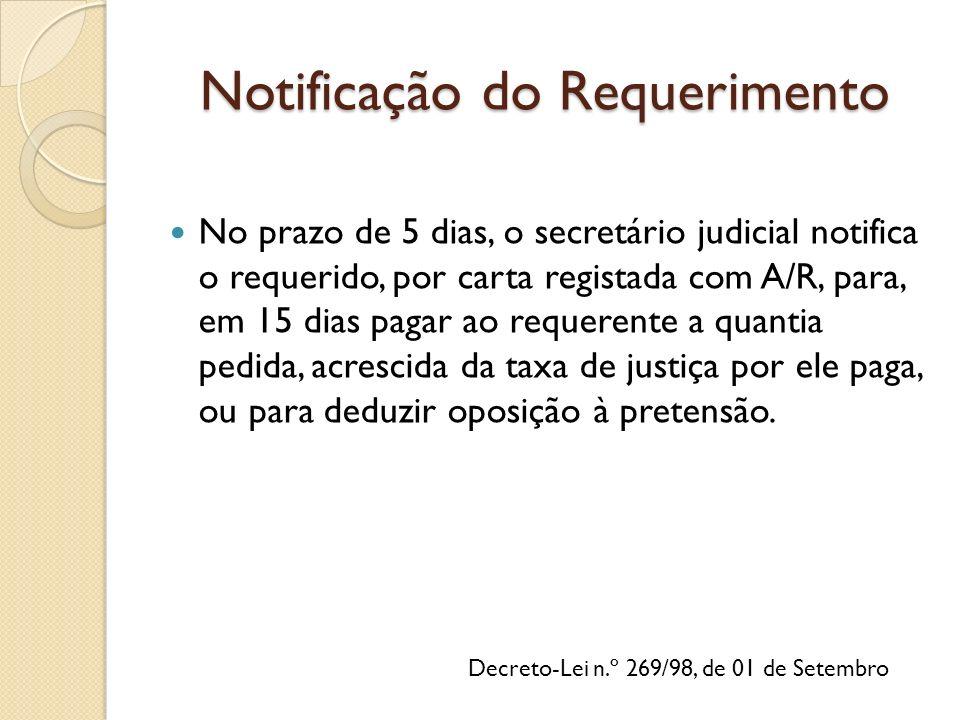 Decreto-Lei n.º 269/98, de 01 de Setembro No prazo de 5 dias, o secretário judicial notifica o requerido, por carta registada com A/R, para, em 15 dias pagar ao requerente a quantia pedida, acrescida da taxa de justiça por ele paga, ou para deduzir oposição à pretensão.