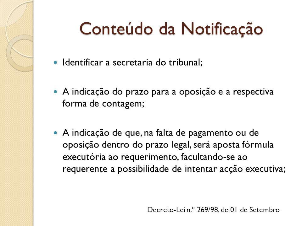 Decreto-Lei n.º 269/98, de 01 de Setembro Identificar a secretaria do tribunal; A indicação do prazo para a oposição e a respectiva forma de contagem;