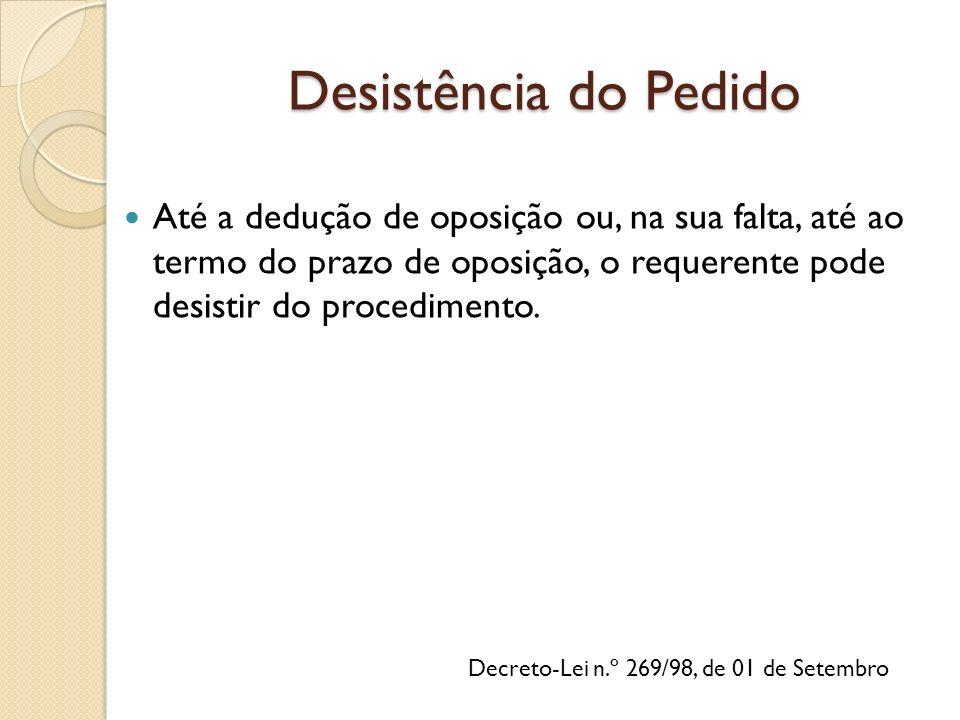 Decreto-Lei n.º 269/98, de 01 de Setembro Até a dedução de oposição ou, na sua falta, até ao termo do prazo de oposição, o requerente pode desistir do procedimento.