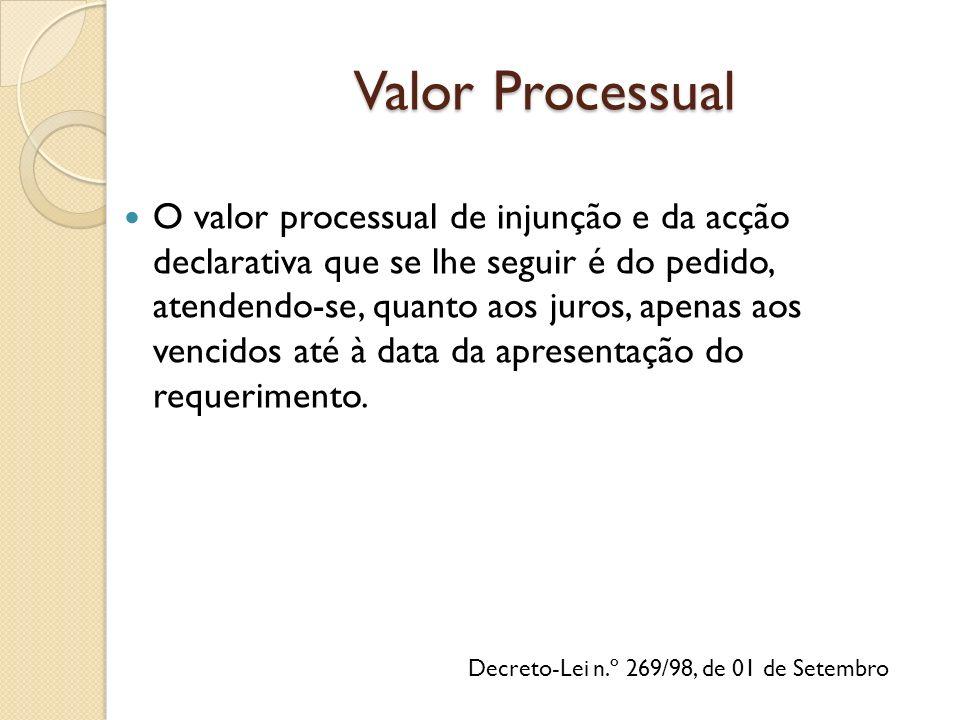 Decreto-Lei n.º 269/98, de 01 de Setembro O valor processual de injunção e da acção declarativa que se lhe seguir é do pedido, atendendo-se, quanto aos juros, apenas aos vencidos até à data da apresentação do requerimento.