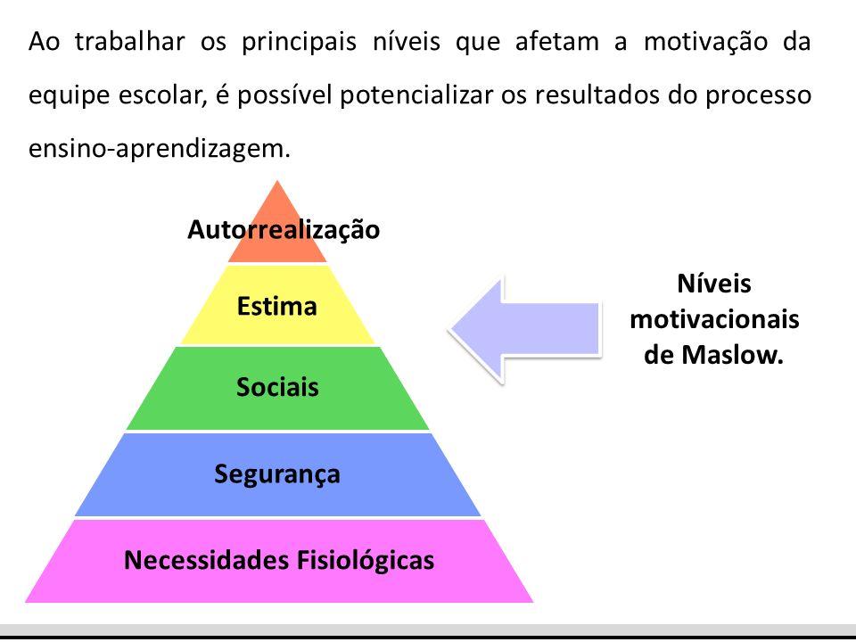 Esses níveis são desdobrados em fatores que também afetam a motivação da equipe escolar, impactando no trabalho pedagógico.