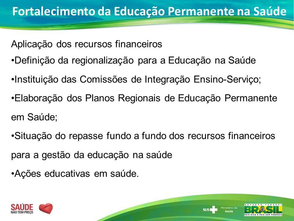 Aplicação dos recursos financeiros Definição da regionalização para a Educação na Saúde Instituição das Comissões de Integração Ensino-Serviço; Elabor