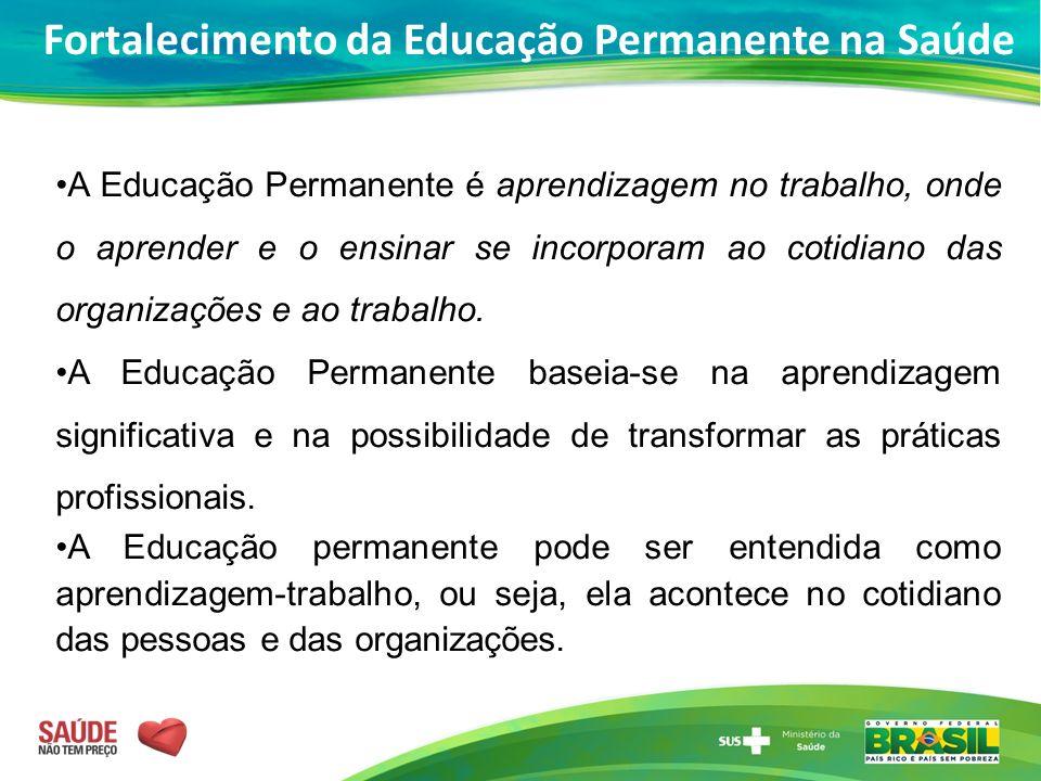 A Educação Permanente é aprendizagem no trabalho, onde o aprender e o ensinar se incorporam ao cotidiano das organizações e ao trabalho. A Educação Pe