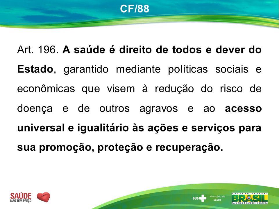 CF/88 Art. 196. A saúde é direito de todos e dever do Estado, garantido mediante políticas sociais e econômicas que visem à redução do risco de doença