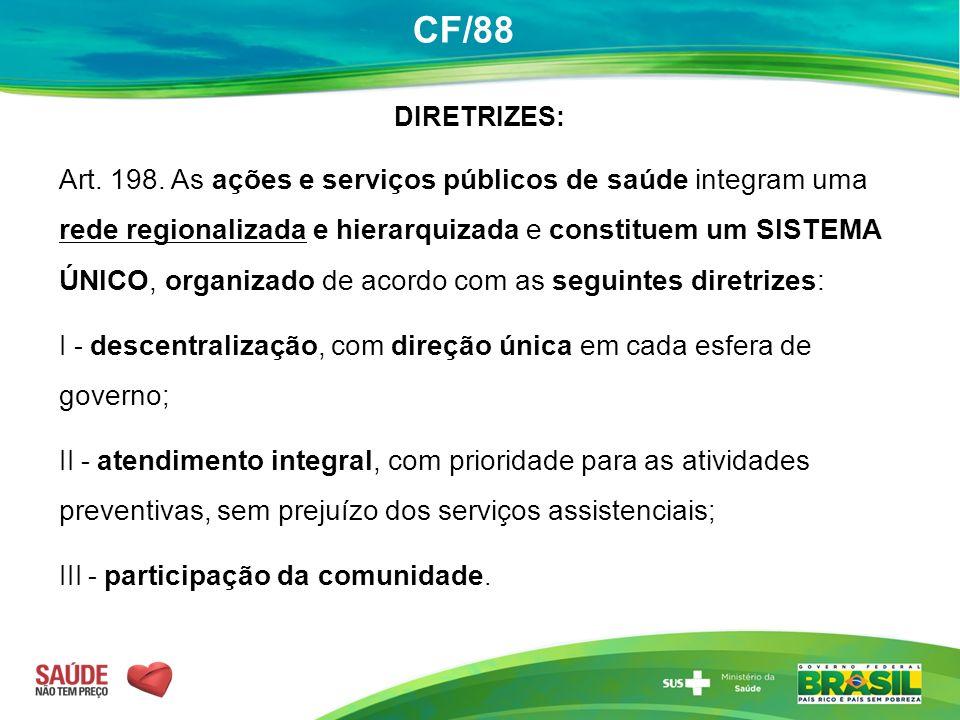 DIRETRIZES: Art. 198. As ações e serviços públicos de saúde integram uma rede regionalizada e hierarquizada e constituem um SISTEMA ÚNICO, organizado