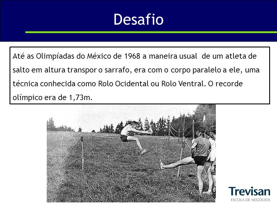 Desafio Até as Olimpíadas do México de 1968 a maneira usual de um atleta de salto em altura transpor o sarrafo, era com o corpo paralelo a ele, uma té