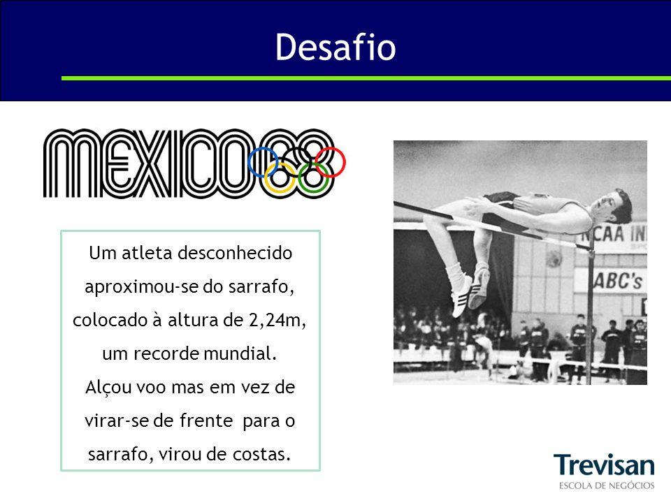 Desafio Um atleta desconhecido aproximou-se do sarrafo, colocado à altura de 2,24m, um recorde mundial. Alçou voo mas em vez de virar-se de frente par