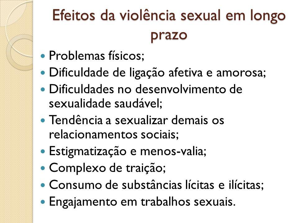 Efeitos da violência sexual em longo prazo Problemas físicos; Dificuldade de ligação afetiva e amorosa; Dificuldades no desenvolvimento de sexualidade