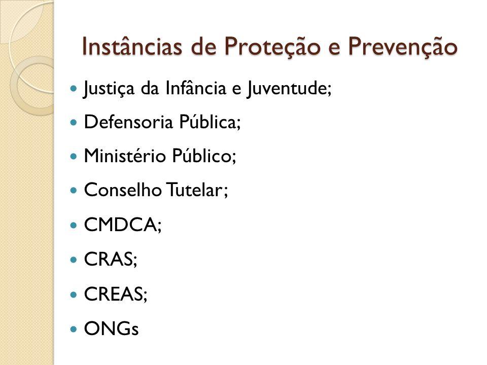 Instâncias de Proteção e Prevenção Justiça da Infância e Juventude; Defensoria Pública; Ministério Público; Conselho Tutelar; CMDCA; CRAS; CREAS; ONGs