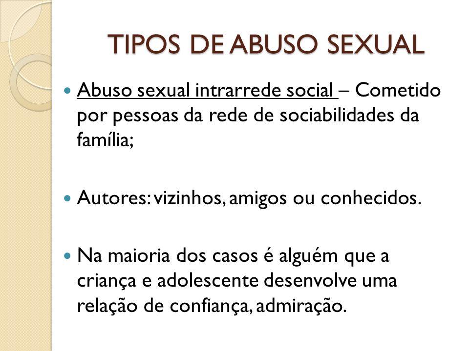 TIPOS DE ABUSO SEXUAL Abuso sexual intrarrede social – Cometido por pessoas da rede de sociabilidades da família; Autores: vizinhos, amigos ou conheci