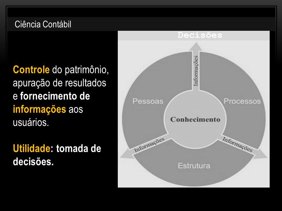 Controle do patrimônio, apuração de resultados e fornecimento de informações aos usuários. Utilidade: tomada de decisões. Ciência Contábil Decisões