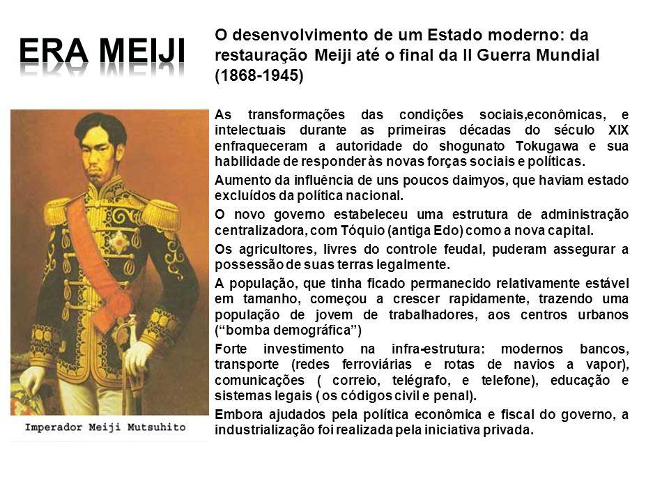 O desenvolvimento de um Estado moderno: da restauração Meiji até o final da II Guerra Mundial (1868-1945) As transformações das condições sociais,econ