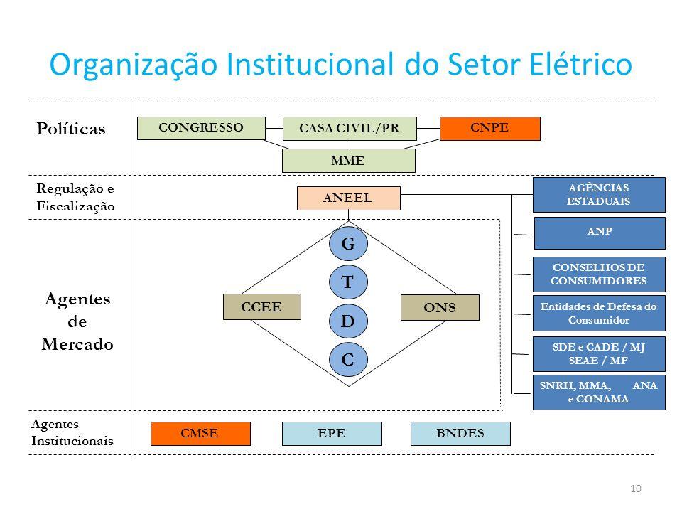 11 Macro processo institucional do SEB POLÍTICAS CONCESSÕES PLANEJAMENTO ENERGIA ELÉTRICA ENERGIAS RENOVÁVEIS PETRÓLEO E GÁS NATURAL Agentes Produtivos Fiscalização Regulação Mediação Agências Reguladoras Infra-estrutura