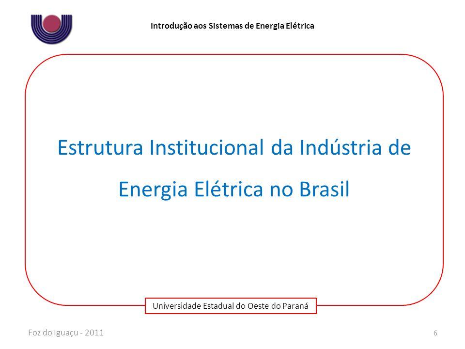 Universidade Estadual do Oeste do Paraná Introdução aos Sistemas de Energia Elétrica Foz do Iguaçu - 2011 7 Breve histórico da Reforma do Setor Elétrico Brasileiro 1996/1997 Projeto RE- SEB 1998/2000 Implantação do Modelo 2001 Crise de abastecimento 2002 Câmara de Gestão do Setor Elétrico (Relatórios de Revitalização) 2003 Base Conceitual do Novo Modelo MPs 144 e 145 2004/2005 Regulamentação do Novo Modelo Lei nº 10.848 Lei nº 10.847 (EPE) Decreto 5.081 (ONS) Decreto 5.163 Decreto 5175 (CMSE) Decreto 5177 (CCEE) Res.