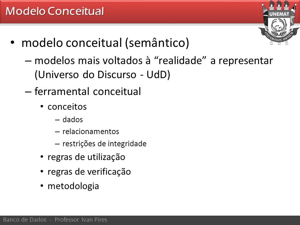 Modelo Conceitual Banco de Dados - Professor Ivan Pires modelo conceitual (semântico) – modelos mais voltados à realidade a representar (Universo do D