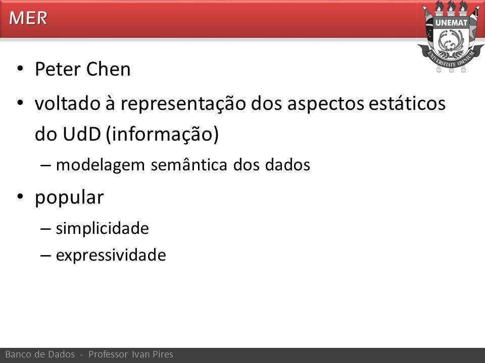 MER Banco de Dados - Professor Ivan Pires Peter Chen voltado à representação dos aspectos estáticos do UdD (informação) – modelagem semântica dos dado