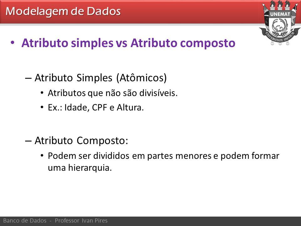 Modelagem de Dados Banco de Dados - Professor Ivan Pires Atributo simples vs Atributo composto – Atributo Simples (Atômicos) Atributos que não são div