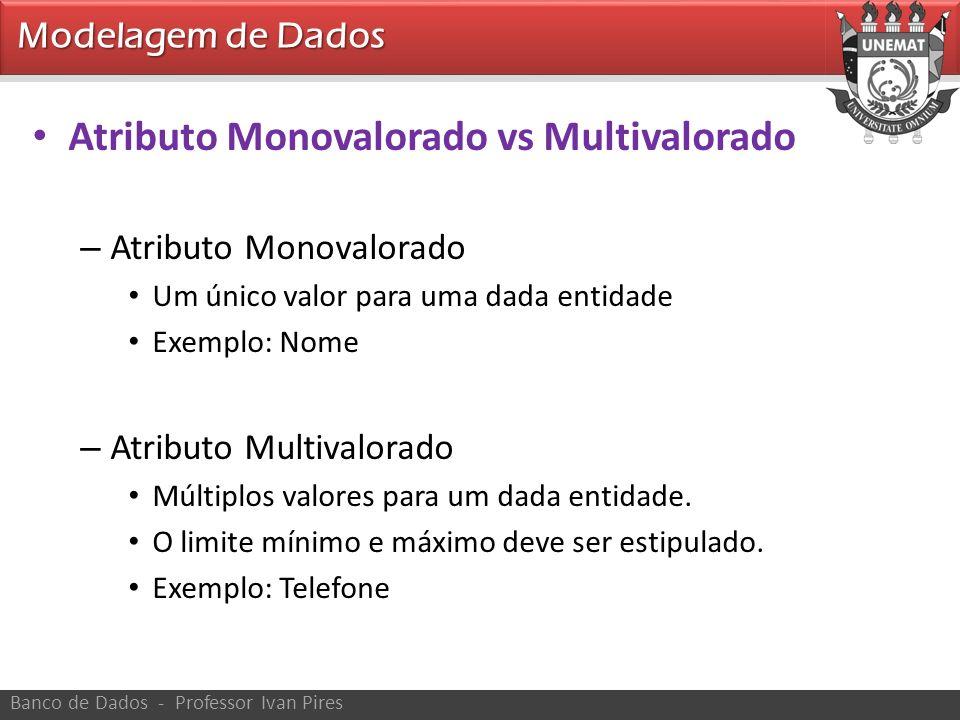 Modelagem de Dados Banco de Dados - Professor Ivan Pires Atributo Monovalorado vs Multivalorado – Atributo Monovalorado Um único valor para uma dada e