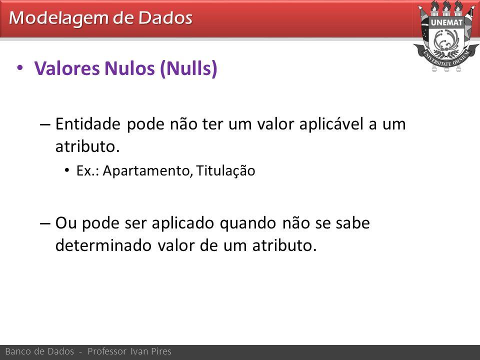 Modelagem de Dados Banco de Dados - Professor Ivan Pires Valores Nulos (Nulls) – Entidade pode não ter um valor aplicável a um atributo. Ex.: Apartame