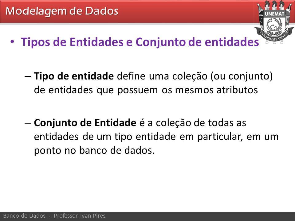 Modelagem de Dados Banco de Dados - Professor Ivan Pires Tipos de Entidades e Conjunto de entidades – Tipo de entidade define uma coleção (ou conjunto