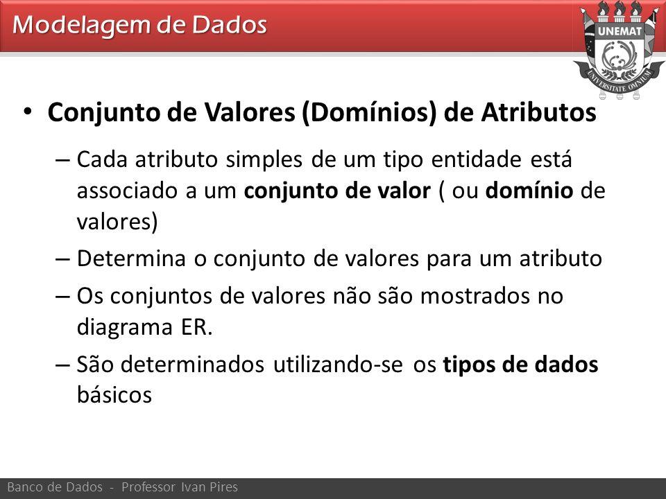 Modelagem de Dados Banco de Dados - Professor Ivan Pires Conjunto de Valores (Domínios) de Atributos – Cada atributo simples de um tipo entidade está