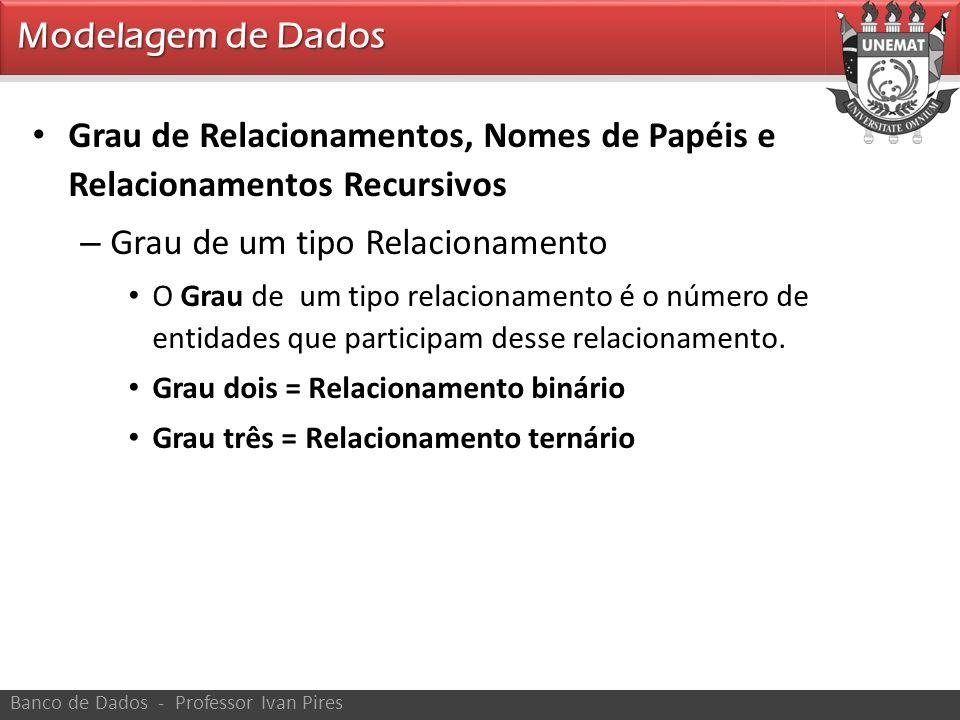 Modelagem de Dados Banco de Dados - Professor Ivan Pires Grau de Relacionamentos, Nomes de Papéis e Relacionamentos Recursivos – Grau de um tipo Relac