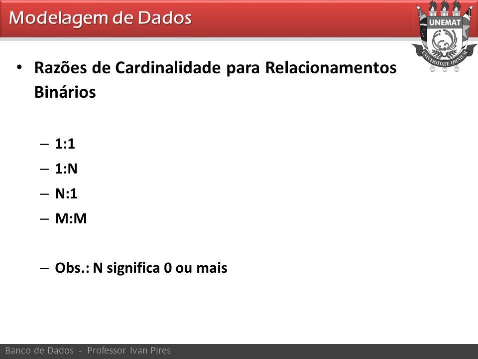 Modelagem de Dados Banco de Dados - Professor Ivan Pires Razões de Cardinalidade para Relacionamentos Binários – 1:1 – 1:N – N:1 – M:M – Obs.: N signi