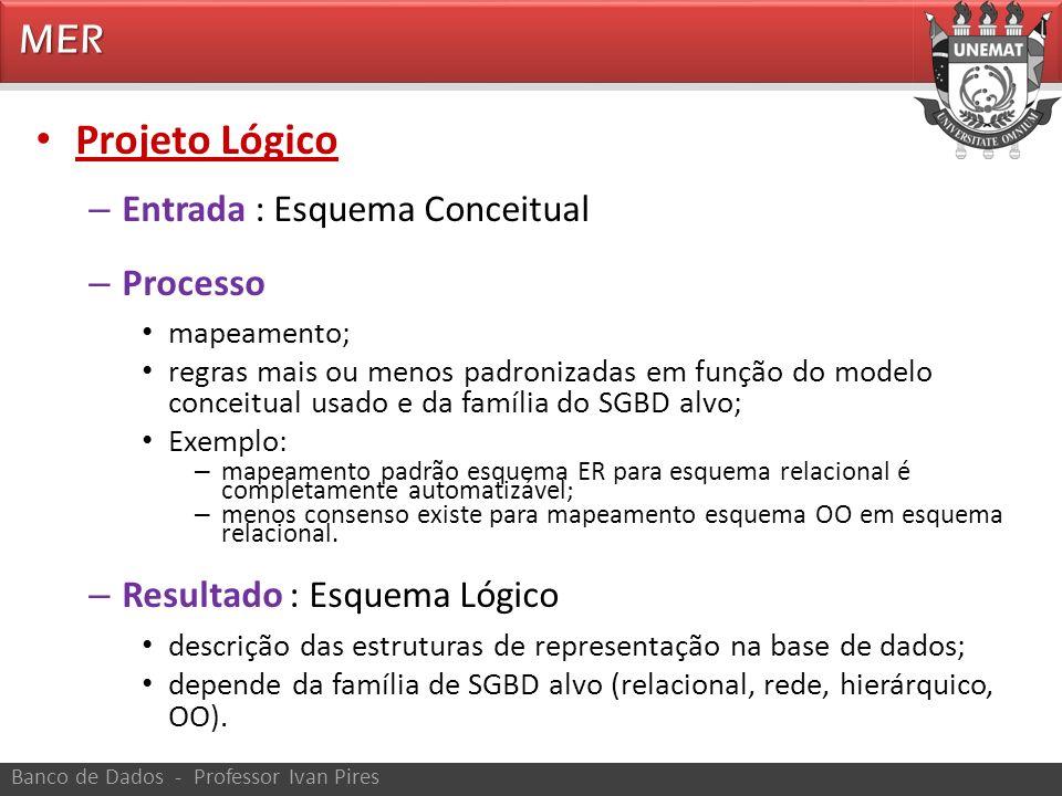 MER Banco de Dados - Professor Ivan Pires Projeto Lógico – Entrada : Esquema Conceitual – Processo mapeamento; regras mais ou menos padronizadas em fu
