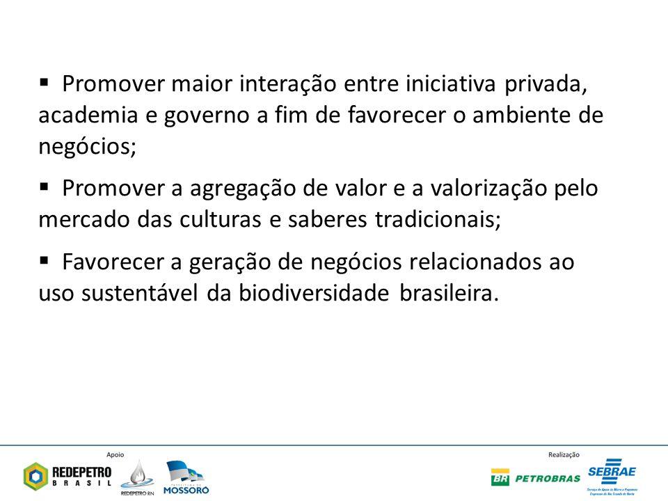 Promover maior interação entre iniciativa privada, academia e governo a fim de favorecer o ambiente de negócios; Promover a agregação de valor e a valorização pelo mercado das culturas e saberes tradicionais; Favorecer a geração de negócios relacionados ao uso sustentável da biodiversidade brasileira.