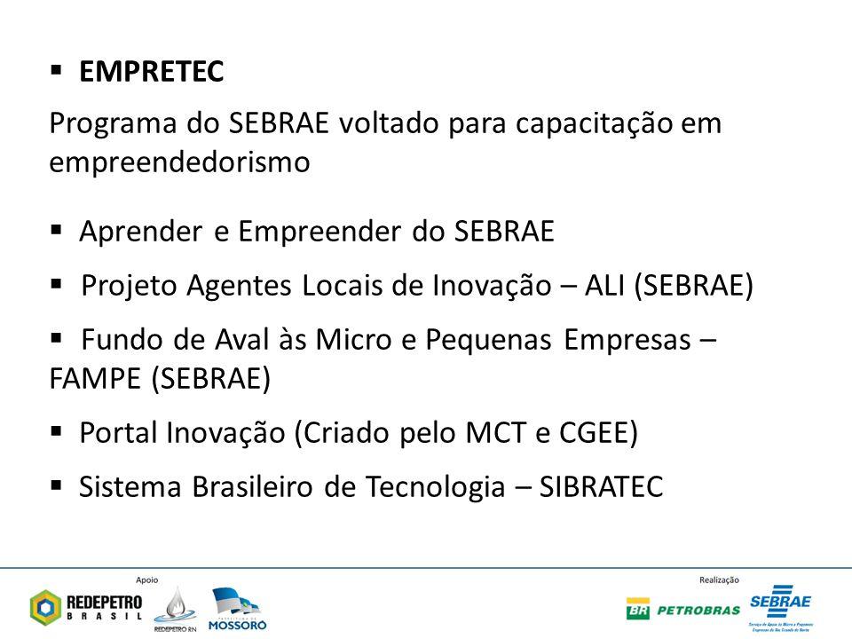 EMPRETEC Programa do SEBRAE voltado para capacitação em empreendedorismo Aprender e Empreender do SEBRAE Projeto Agentes Locais de Inovação – ALI (SEBRAE) Fundo de Aval às Micro e Pequenas Empresas – FAMPE (SEBRAE) Portal Inovação (Criado pelo MCT e CGEE) Sistema Brasileiro de Tecnologia – SIBRATEC
