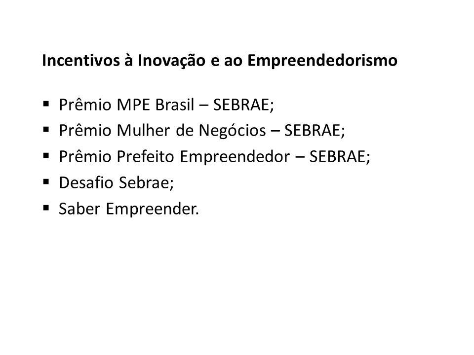 Incentivos à Inovação e ao Empreendedorismo Prêmio MPE Brasil – SEBRAE; Prêmio Mulher de Negócios – SEBRAE; Prêmio Prefeito Empreendedor – SEBRAE; Desafio Sebrae; Saber Empreender.