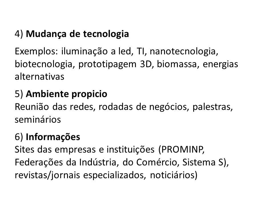 4) Mudança de tecnologia Exemplos: iluminação a led, TI, nanotecnologia, biotecnologia, prototipagem 3D, biomassa, energias alternativas 5) Ambiente propicio Reunião das redes, rodadas de negócios, palestras, seminários 6) Informações Sites das empresas e instituições (PROMINP, Federações da Indústria, do Comércio, Sistema S), revistas/jornais especializados, noticiários)