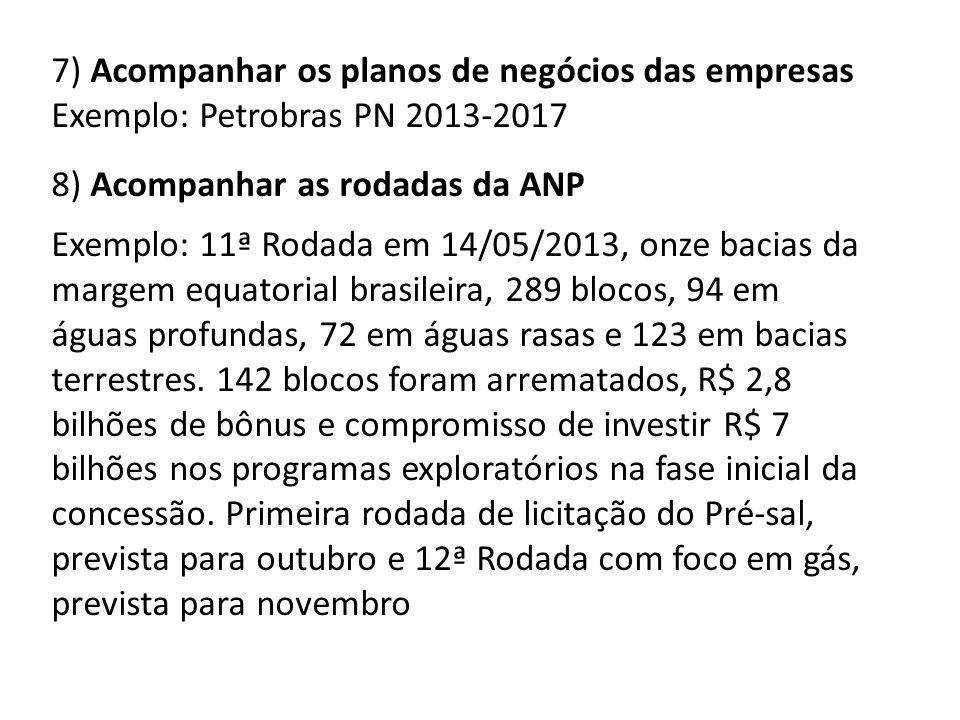 7) Acompanhar os planos de negócios das empresas Exemplo: Petrobras PN 2013-2017 8) Acompanhar as rodadas da ANP Exemplo: 11ª Rodada em 14/05/2013, onze bacias da margem equatorial brasileira, 289 blocos, 94 em águas profundas, 72 em águas rasas e 123 em bacias terrestres.