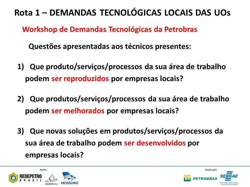 Rota 1 – DEMANDAS TECNOLÓGICAS LOCAIS DAS UOs Questões apresentadas aos técnicos presentes: 1)Que produto/serviços/processos da sua área de trabalho podem ser reproduzidos por empresas locais.
