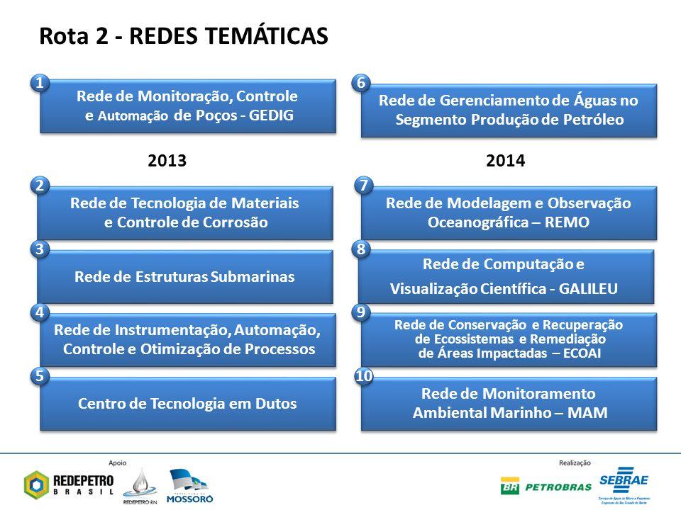 Rede de Modelagem e Observação Oceanográfica – REMO Rede de Modelagem e Observação Oceanográfica – REMO 7 7 Rede de Estruturas Submarinas 3 3 Rede de Gerenciamento de Águas no Segmento Produção de Petróleo Rede de Gerenciamento de Águas no Segmento Produção de Petróleo 6 6 Rede de Instrumentação, Automação, Controle e Otimização de Processos Rede de Instrumentação, Automação, Controle e Otimização de Processos 4 4 Rede de Conservação e Recuperação de Ecossistemas e Remediação de Áreas Impactadas – ECOAI Rede de Conservação e Recuperação de Ecossistemas e Remediação de Áreas Impactadas – ECOAI 9 9 Centro de Tecnologia em Dutos 5 5 Rede de Monitoração, Controle e Automação de Poços - GEDIG Rede de Monitoração, Controle e Automação de Poços - GEDIG 1 1 Rede de Tecnologia de Materiais e Controle de Corrosão Rede de Tecnologia de Materiais e Controle de Corrosão 2 2 Rede de Computação e Visualização Científica - GALILEU Rede de Computação e Visualização Científica - GALILEU 8 8 Rede de Monitoramento Ambiental Marinho – MAM Rede de Monitoramento Ambiental Marinho – MAM 10 20132014 Rota 2 - REDES TEMÁTICAS