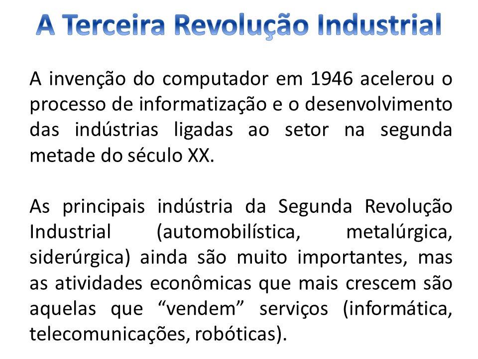 A invenção do computador em 1946 acelerou o processo de informatização e o desenvolvimento das indústrias ligadas ao setor na segunda metade do século