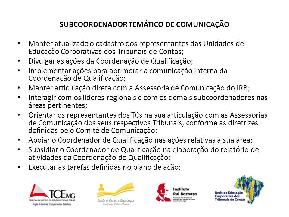 SUBCOORDENADOR TEMÁTICO DE COMUNICAÇÃO Manter atualizado o cadastro dos representantes das Unidades de Educação Corporativas dos Tribunais de Contas; Divulgar as ações da Coordenação de Qualificação; Implementar ações para aprimorar a comunicação interna da Coordenação de Qualificação; Manter articulação direta com a Assessoria de Comunicação do IRB; Interagir com os líderes regionais e com os demais subcoordenadores nas áreas pertinentes; Orientar os representantes dos TCs na sua articulação com as Assessorias de Comunicação dos seus respectivos Tribunais, conforme as diretrizes definidas pelo Comitê de Comunicação; Apoiar o Coordenador de Qualificação nas ações relativas à sua área; Subsidiar o Coordenador de Qualificação na elaboração do relatório de atividades da Coordenação de Qualificação; Executar as tarefas definidas no plano de ação;