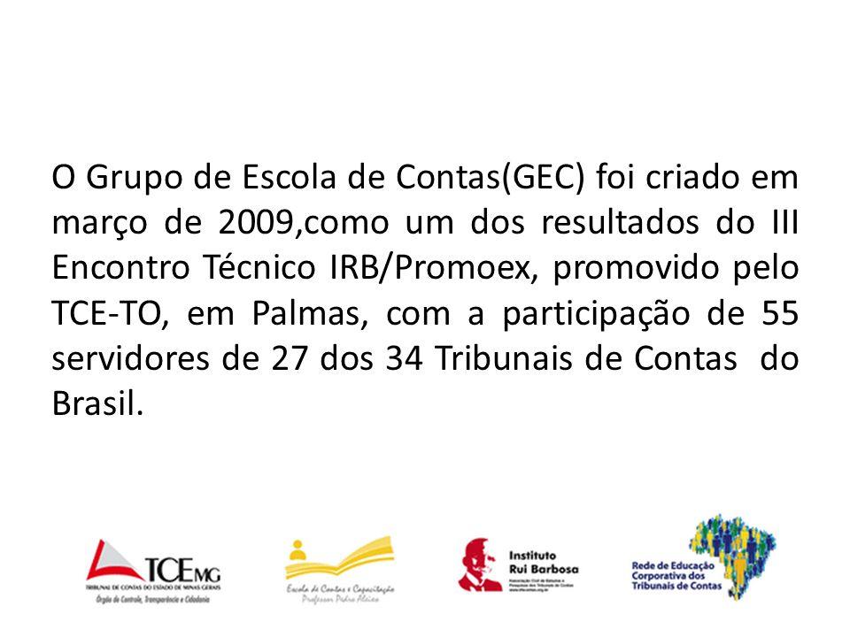 O Grupo de Escola de Contas(GEC) foi criado em março de 2009,como um dos resultados do III Encontro Técnico IRB/Promoex, promovido pelo TCE-TO, em Palmas, com a participação de 55 servidores de 27 dos 34 Tribunais de Contas do Brasil.